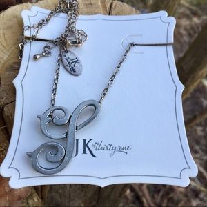Initial S Silver Necklace Monogram